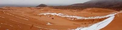 В пустыне Сахара второй раз с начала года выпал снег